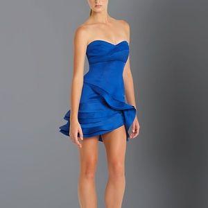 BCBGMAXAZRIA Blue Strapless Ruffle Mini Dress Sz 0